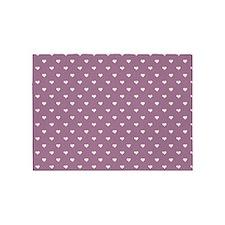 Purple Mini Hearts Retro Pattern 5'x7'Area Rug