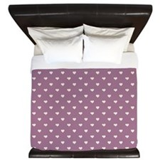 Purple Mini Hearts Retro Pattern King Duvet