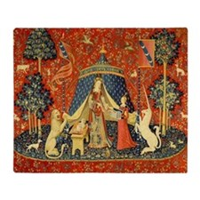 Lady and the Unicorn Medieval Tapestry Art Throw B