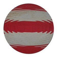 Red and White Stripes Rippled Round Car Magnet