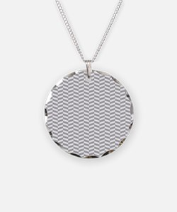 Gray and White Herringbone Pattern Necklace