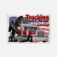 Trucking USA Rectangle Magnet
