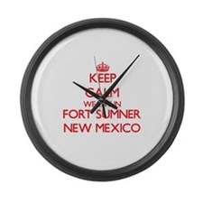 Keep calm we live in Fort Sumner Large Wall Clock