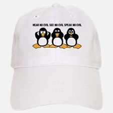 Three Wise Penguins Design Graphic Baseball Baseball Cap