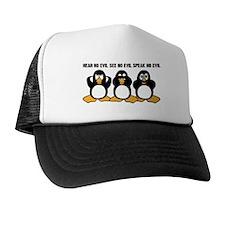 Three Wise Penguins Design Graphic Trucker Hat