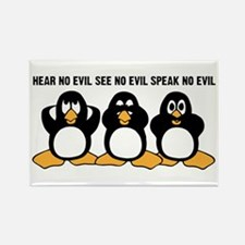Three Wise Penguins Design Graphi Rectangle Magnet