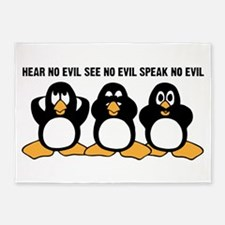 Three Wise Penguins Design Graphic 5'x7'Area Rug