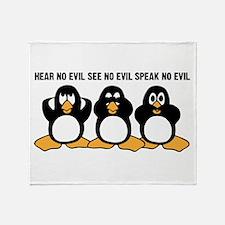 Three Wise Penguins Design Graphic Throw Blanket