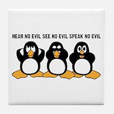 Three Wise Penguins Design Graphic Tile Coaster