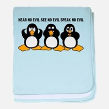 Three Wise Penguins Design Graphic baby blanket