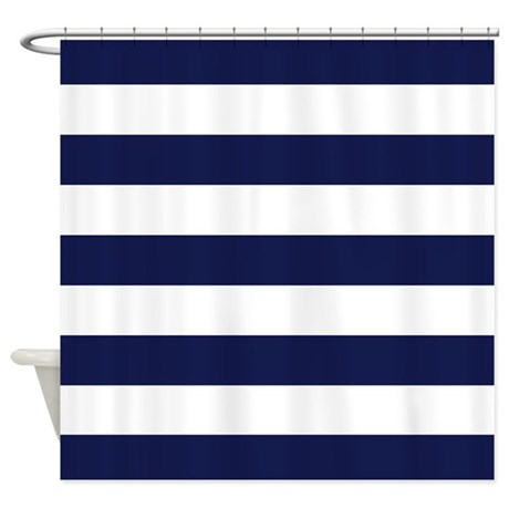 Cute Navy Blue Shower Curtain
