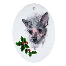 Chinese Crested Oval Ornament