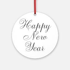 Happy New Year Black Script Ornament (Round)