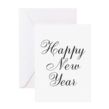 Happy New Year Black Script Greeting Cards