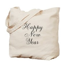 Happy New Year Black Script Tote Bag