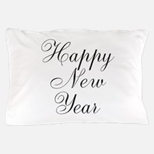 Happy New Year Black Script Pillow Case