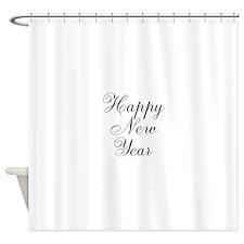 Happy New Year Black Script Shower Curtain