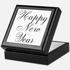 Happy New Year Black Script Keepsake Box