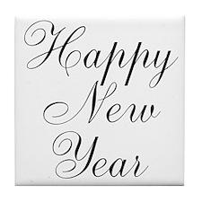 Happy New Year Black Script Tile Coaster