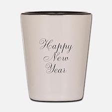 Happy New Year Black Script Shot Glass