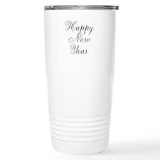 Happy New Year Black Script Travel Mug