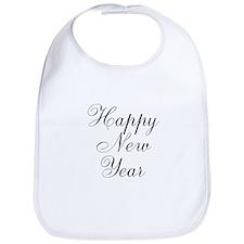 Happy New Year Black Script Bib