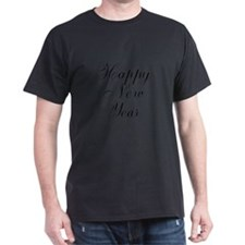 Happy New Year Black Script T-Shirt