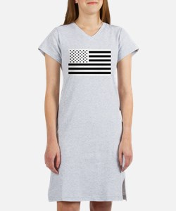 Black and White USA Flag Women's Nightshirt