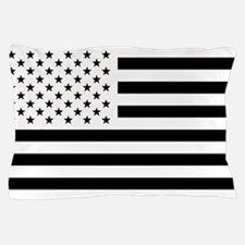 Black and White USA Flag Pillow Case