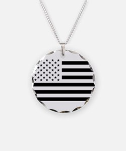 Black and White USA Flag Necklace