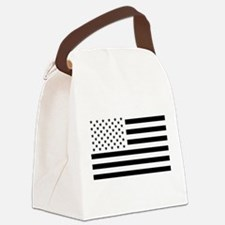 Black and White USA Flag Canvas Lunch Bag