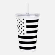 Black and White USA Fl Acrylic Double-wall Tumbler
