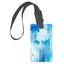 Modern Blue Geometric Pattern Luggage Tag