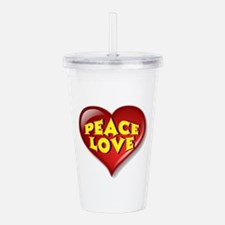 Peace Love Heart Acrylic Double-wall Tumbler