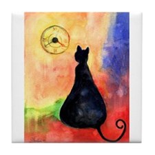 Black cat and clock Tile Coaster 4.25""