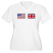 USA UK Flags for White Stuff Plus Size T-Shirt