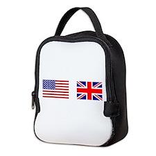 USA UK Flags for White Stuff Neoprene Lunch Bag