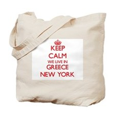 Keep calm we live in Greece New York Tote Bag