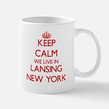 Keep calm we live in Lansing New York Mugs