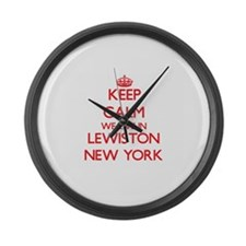 Keep calm we live in Lewiston New Large Wall Clock