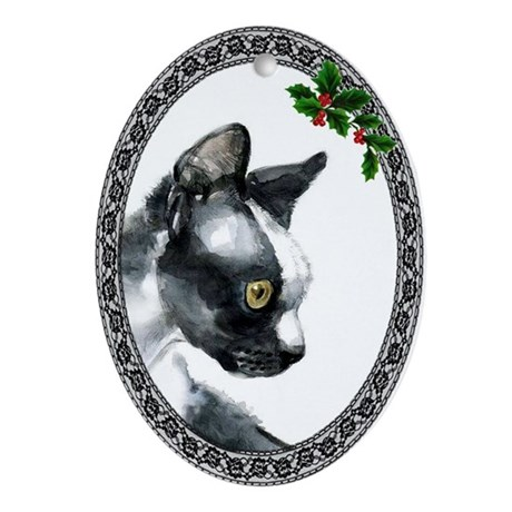 Devon Rex Cat Oval Ornament