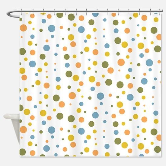 Retro Dot Pattern Shower Curtain