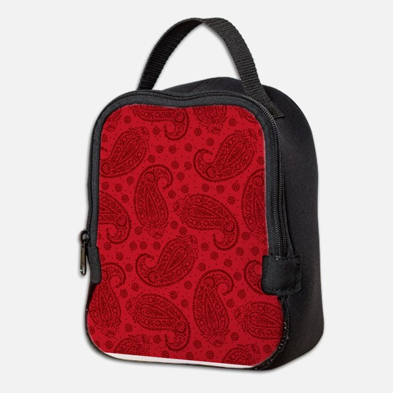 Red Paisley Pattern Neoprene Lunch Bag