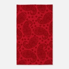 Red Paisley Pattern Area Rug