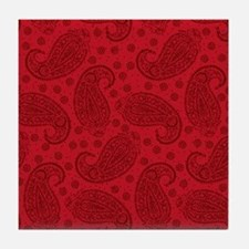 Red Paisley Pattern Tile Coaster