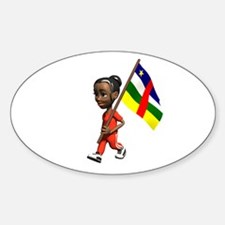 Central African Republic Girl Oval Decal