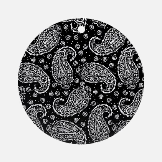 Black Paisley Pattern Ornament (Round)