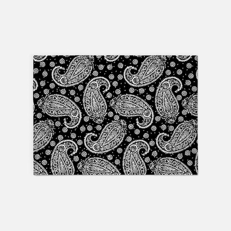Black Paisley Pattern 5'x7'Area Rug