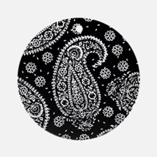 Black Paisley Ornament (Round)