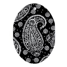 Black Paisley Ornament (Oval)